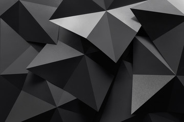 Macro image of polygonal shapes of paper, three-dimensional effect, abstract background