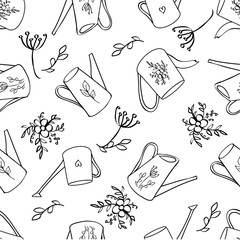 Seamless pattern, Watering can hand drawn vector doodle sketch isolated on white background, Scrapbook vintage design gardening element line art for wedding invitation, greeting card, florist shop