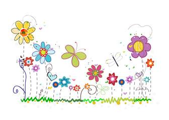 Colorful spring summer time flowers. Doodle floral greeting card background