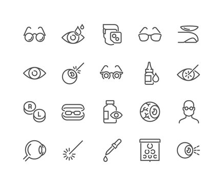 Simple Set of Optometry Related Vector Line Icons. Contains such Icons as Eye Exam, Laser Surgery, Eyeball, Glasses and more. Editable Stroke. 48x48 Pixel Perfect.