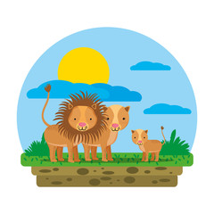 cute lion family wild animal in the landscape