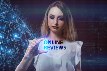 The concept of business, technology, the Internet and the network. A young entrepreneur working on a virtual screen of the future and sees the inscription: Online reviews