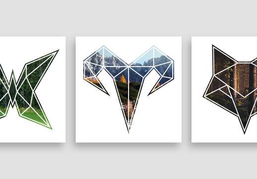 4 Geometric Animal Shaped Photo Masks