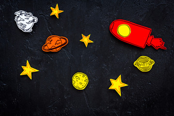 Autocollant pour porte Cosmos Space research concept. Drawn stars and rocket or space shuttle on black outer space background top view