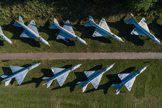 Aerial drone view on military airbase