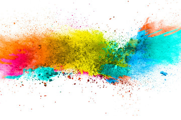 Multicolor powder explosion on white background. Colored cloud. Colorful dust explode. Paint Holi.abstract multicolored dust splatter on white background