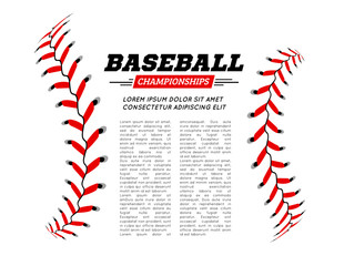Baseball ball text frame on white background.