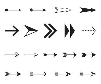 Set of simple black arrows in vector format. Decorative signs and symbols.