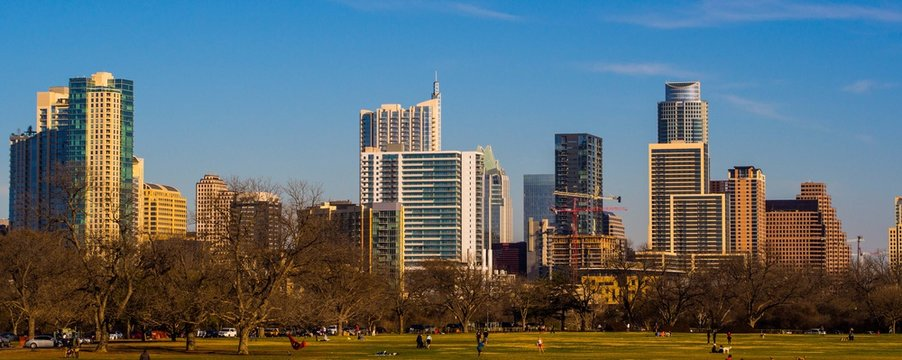 Zilker Park and Austin City Skyline