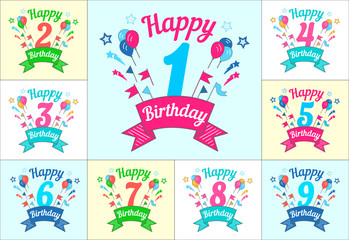 Happy Birthday set of greeting card