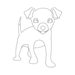 dog puppy vector illustration coloring front side drawing