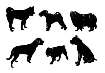 set of black silhouettes of different breeds of dogs