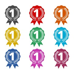 Number 1 badge, Award black icon, color icons set