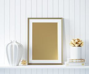 Mock up golden poster frame in interior background with decor, 3d render
