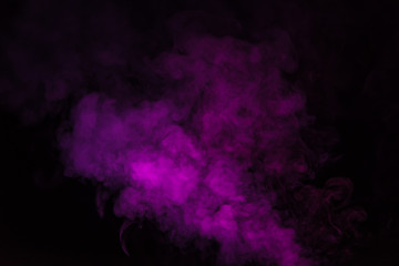 abstract mystical black background with pink smoke