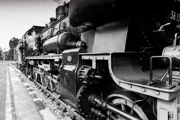 old steel train locomotive