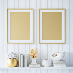 Mock up golden poster frame in interior background with decor, 3d render