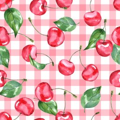 Cherry. Watercolor illustration. Seamless pattern