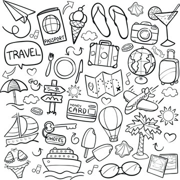 Traveling Tourism Doodle Icon Hand Draw Line Art