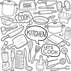 Kitchen Tools Doodle Icon Hand Draw Line Art