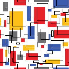Abstraction of squares and lines / Abstraction of squares of different colors and lines with ornaments.