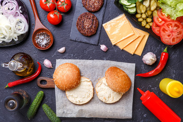 Picture on top of ingredients for hamburgers
