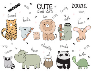 Set of vector cartoon sketch illustration with cute doodle animals