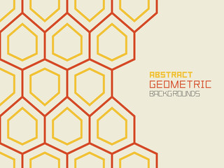 Abstract geometric background with hexagons, red line. technology concept. Colorful ornament. isolated on beige background