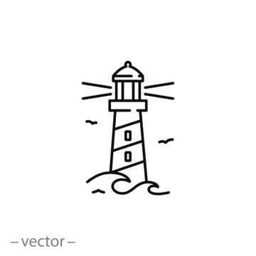 lighthouse icon, line sign - vector illustration eps10