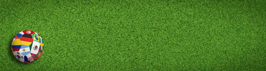 Fußball / Sport auf dem Rasen mit Länderflaggen