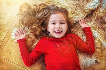 Beautiful joyful little girl in red sweater lies on floor, top view