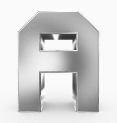 letter A 3d cubic silver isolated on white