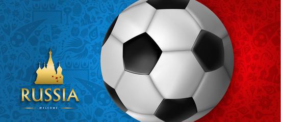 Russian soccer ball web banner for sport event