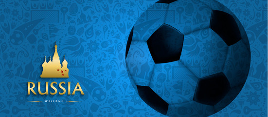 Russian soccer ball web banner for sport event