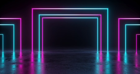 Empty Room With Colored Rectangle Neon Tubes With Reflection On Concrete Floor. 3D Rendering
