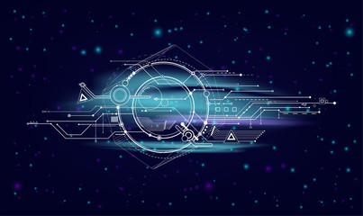 Science space abstract illustration. Modern futuristic background with the universe. Starry sky with a technological element.