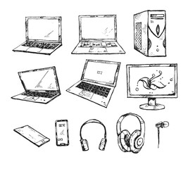 Hand drawn graphic set with PC, computer, monitor, laptop, headphones, smartphone. Collection of ink drawn elements isolated on a white background. Technology theme.