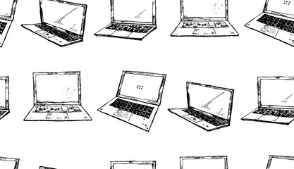 Seamless texture with black laptops on a white background. Technology theme. Hand drawn elements.