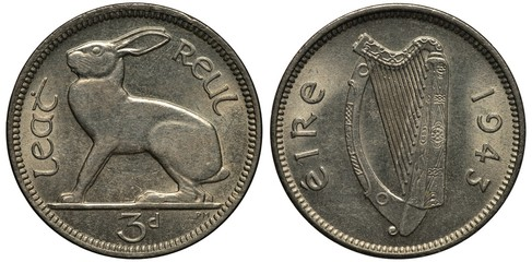 Ireland Irish coin 3 three pence 1943, WWII issue, hare left, Irish harp divides country name and date,
