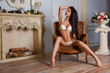 beautiful brunette woman sitting in a chair in her underwear in a sexy pose