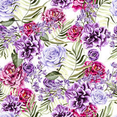 Beautiful watercolor pattern with peony and rose flowers, lilac and tropical leaves.