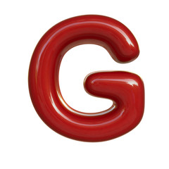 Glossy red paint letter G. 3D render of bubble font isolated on white background