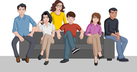 Group of cartoon people seated on a sofa