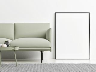 Mock up poster with pastel green sofa, 3d render, 3d illustration