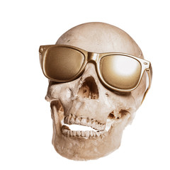 skull with golden sunglass isolated on white background