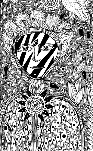 Flower Spirit Coloring Page For Adults Fantasy Ink Graphic Art