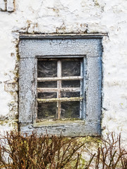 Covered with spider webs window of an old whitewashed barn of a manor house in Weweler, Belgium with branches of bare hedge in the front
