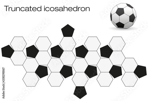 Unfolded soccer ball surface  Geometric polyhedron called