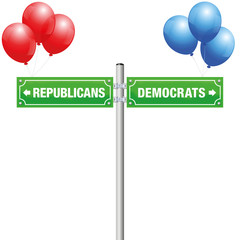 DEMOCRATS or REPUBLICANS, written on street signs with red and blue balloons to choose ones favorite party, government, politics, ideology - isolated vector illustration on white background.