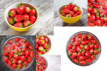 Strawberry inside cold water, sweet spring strawberries closeup, Fresh strawberry in the yellow bowl. Collage of set photos.
